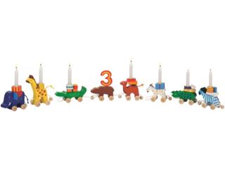 Geburtstagszug Tiere aus Holz mit austauschbaren Zahlen 1-6