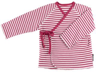 Baby Shirt zum Wickeln cassis-gestreift