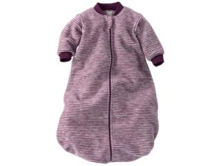 Schlafsack Baby, Schurwolle (kbT), beere-geringelt