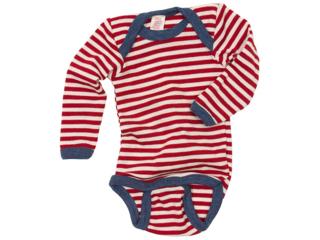 Baby Body mit Schlupfausschnitt Langarm rot-geringelt