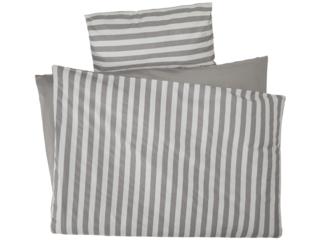 Bettwäsche zum Wenden Bio Baumwolle Streifen Grau