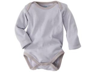 Baby Langarmbody Bio-Baumwolle grau-weiß gestreift