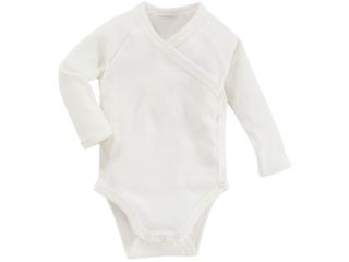 Baby Wickelbody Langarm Bio Baumwolle off white