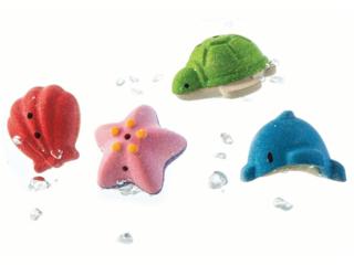 Badewannenspielzeug Set Meer aus Kautschukholz 4er Set