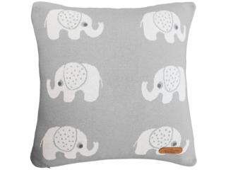 Kissenbezug 40x40 cm  Bio Baumwolle, Elefanten Grey