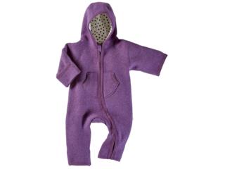 Baby Overall mit Kapuze Bio Schurwoll-Walk lila
