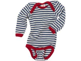 Baby Body mit Schlupfausschnitt Langarm blau-geringelt