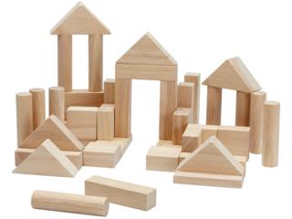 Holzbausteine aus Kautschukholz 40-teilig