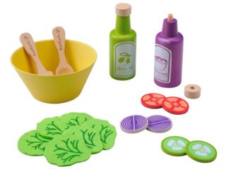 Salatset für die Kinderküche aus Holz 19-teilig
