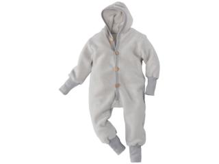 Baby und Kinder Kapuzenoverall Wolle-Baumwolle Fleece grau
