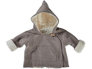 Baby und Kinder Jacke Bio Schurwoll-Walk mit Teddyfutter taupe
