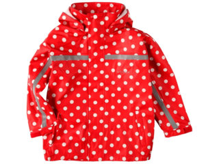 Kinder Buddeljacke und Regenjacke Räuberwald Punkte rot