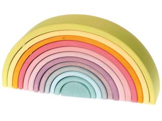 Großer Regenbogen aus Lindenholz, 12-teilig, pastell lasiert