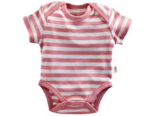 Baby Body Kurzarm Bio Baumwolle rosa-off white