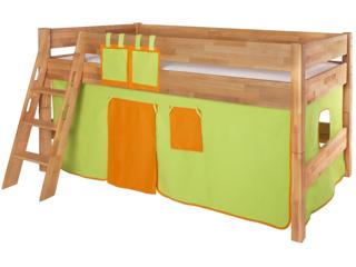 Spielvorhang für Spiel- und Hochbett, 3-teilig, grün-orange