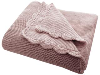 Babydecke Bio-Baumwolle mit Muschelkante, rose