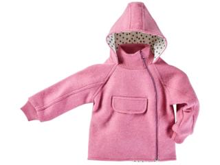 Kinder Jacke mit Kapuze Bio Schurwoll-Walk pink