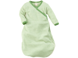 Baby Schlafsack Wickelsack Wolle Seide grün-geringelt