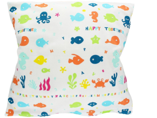 "Kissenbezug 40x40 cm Bio-Baumwolle ""Happy Fish"""