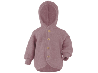 Baby Jacke mit Kapuze, Bio-Merinowolle (kbT) Fleece, melange-rosenholz