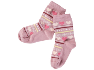 Kinder Socken Baumwolle (kbA) Herzchen altrosa
