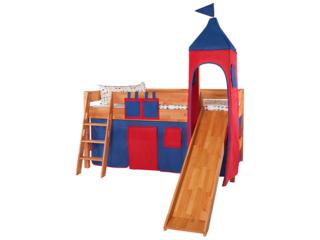 Turm Vorhang für Spielbett, rot-dunkelblau