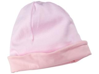 Baby und Kinder Wendemütze Beanie Bio-Baumwolle rose-weiß gestreift