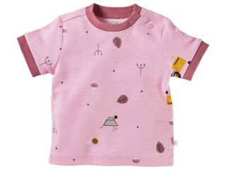 Baby T-Shirt Bio-Baumwolle Garten rosa