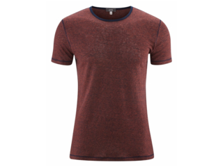 "Herren T-Shirt ""Andy"" Bio-Leinen rosso-ink blue"
