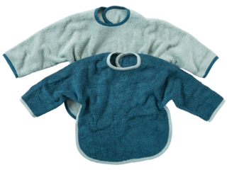 Lätzchen mit Ärmeln und Klettverschluss 2er Set blau