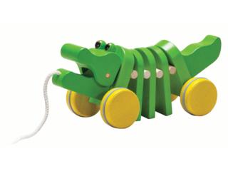Nachziehtier Tanzendes Krokodil aus Kautschukholz