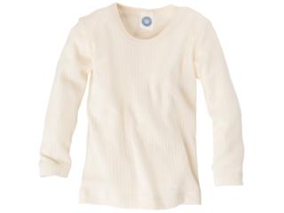 Kinder Hemd Langarm Baumwolle-Wolle-Seide natur