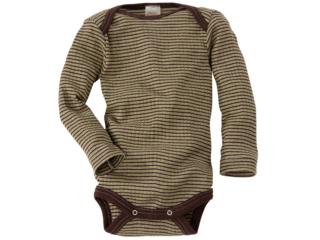 Baby Body Langarm Baumwolle-Wolle-Seide grün-braun-geringelt