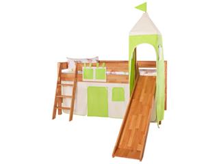 Turm Vorhang für Spielbett, grün-weiß