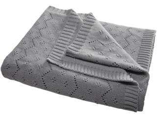 Babydecke Ajour Strick Bio-Baumwolle grey