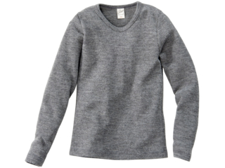 Kinder Unterhemd Langarm Bio-Merinowolle (kbT) Seide melange-grau