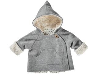 Baby und Kinder Jacke Bio Schurwoll-Walk mit Teddyfutter hellgrau