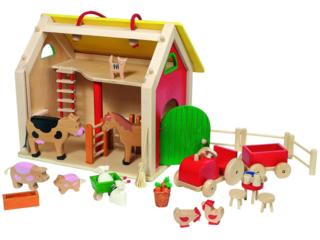 Koffer Farmhaus mit Zubehör aus Holz