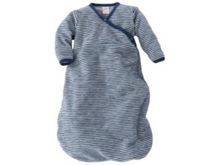 Schlafsack Baby, Schurwolle (kbT), Frottee-Plüsch marine-geringelt