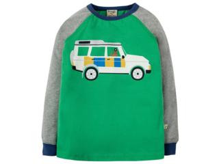 Kinder Langarmshirt Geländewagen grün