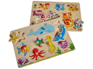 Steckpuzzle Unterwasserwelt und Tierkinder aus Holz 2er Set