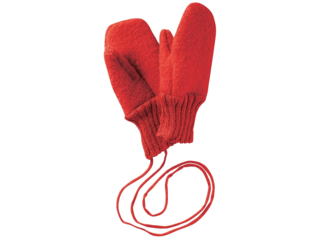 Baby und Kinder Handschuhe, Merino-Wollwalk (kbT) hellrot