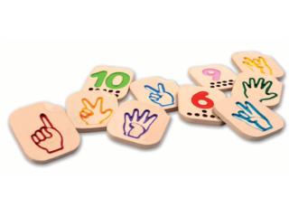 Zahlenspiel 1-10 Handzeichen aus Kautschukholz