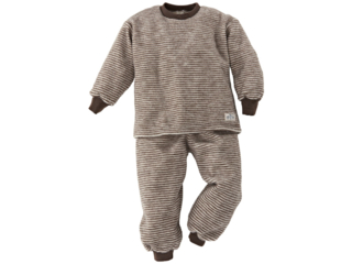 Kinder Schlafanzug Wollfrottee-Plüsch braun-geringelt
