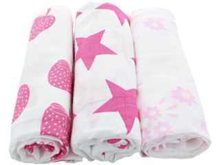 Spucktücher Bio-Baumwolle 3er-Set Pink