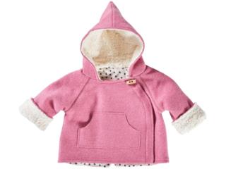 Baby und Kinder Jacke Bio Schurwoll-Walk mit Teddyfutter pink