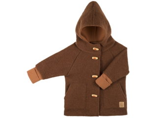 Kinder Mantel Dufflecoat mit Kapuze Bio-Merino Wollwalk tabacco