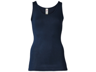 Damen Unterhemd 70% Schurwolle (kbT), 30% Seide marine