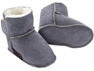 Babyschuhe Lammfell, Veloursleder, pflanzlich gegerbt grau