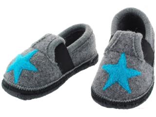 Kinder Hausschuhe Walkpuschen Stern grau-türkis
